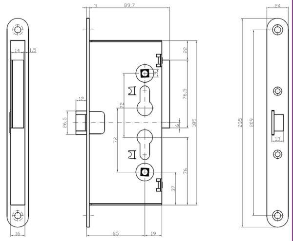13100.65.0 CISA - Электромеханический врезной замок  - 2